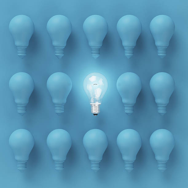 Creative light bulb Idea concept on blue background – Foto