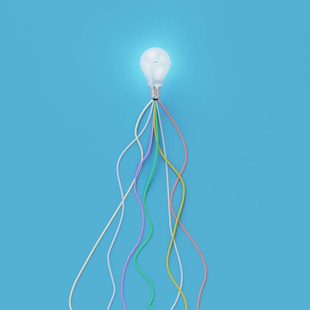 Creative light bulb Idea concept on blue background, – Foto