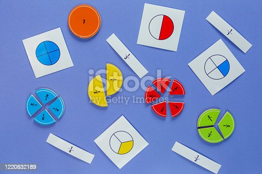 Creative Сolorful math fractions on violet background. Interesting funny math for kids. Education, back to school concept. Geometry and mathematics materials. Flat lay, top view