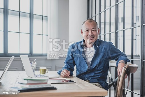 istock Creative mature man at desk in modern office 528281430