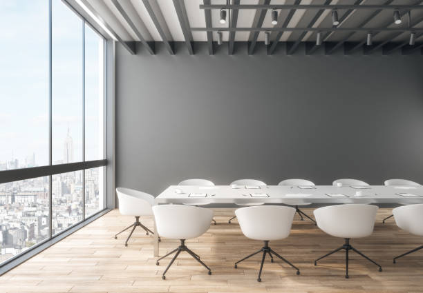 Creative meeting room interior Creative meeting room interior with city view and copy space on wall. 3D Rendering board room stock pictures, royalty-free photos & images