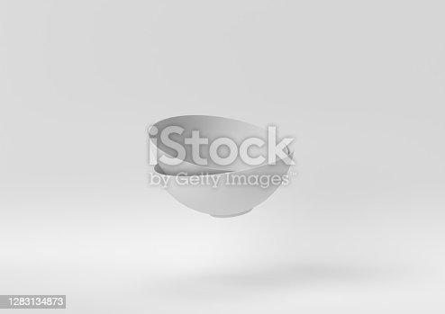 Creative minimal paper idea. Concept white bowl with white background. 3d render, 3d illustration.