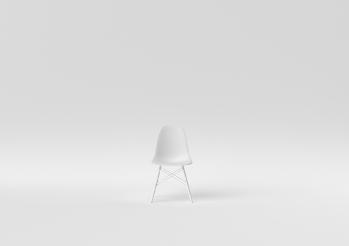Creative minimal paper idea. Concept white chair with white background. 3d render, 3d illustration.