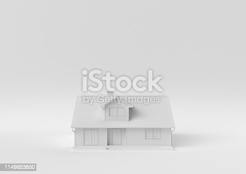 Creative minimal paper idea. Concept white house with white background. 3d render, 3d illustration.