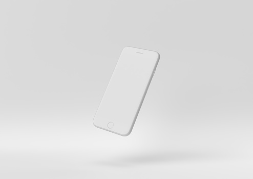 Creative minimal paper idea. Concept white phone with white background. 3d render, 3d illustration.