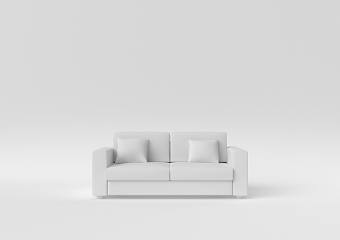 Creative minimal paper idea. Concept white sofa with white background. 3d render, 3d illustration.