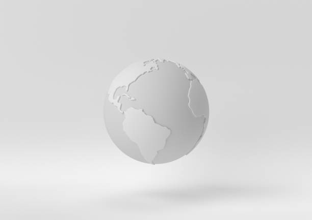 creative minimal paper idea. concept white world with white background. 3d render, 3d illustration. - globe zdjęcia i obrazy z banku zdjęć