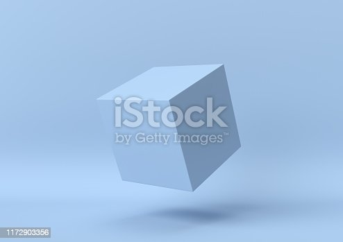 istock Creative minimal summer idea. Concept blue cube with pastel background. 3d render. 1172903356