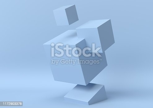 istock Creative minimal summer idea. Concept blue cube with pastel background. 3d render. 1172903378