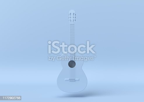 istock Creative minimal summer idea. Concept blue guitar with pastel background. 3d render. 1172902755