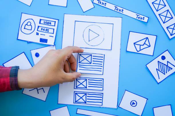 kreative, mobile, ansprechende website-designer sortieren drahtrahmen-bildschirme von mobilen anwendungsprozess-entwicklung prototyp drahtframe. - prototype stock-fotos und bilder