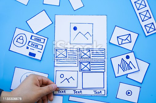 1182469817 istock photo Creative mobile responsive website designer sorting wireframe screens of mobile application process development prototype wireframe. User experience concept. 1133306678