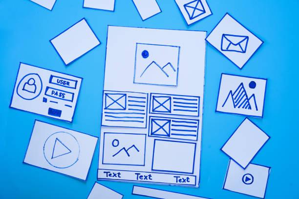 kreative, mobile, ansprechende website-designer sortieren drahtrahmen-bildschirme von mobilen anwendungsprozess-entwicklung prototyp drahtframe. user experience concept. - prototype stock-fotos und bilder