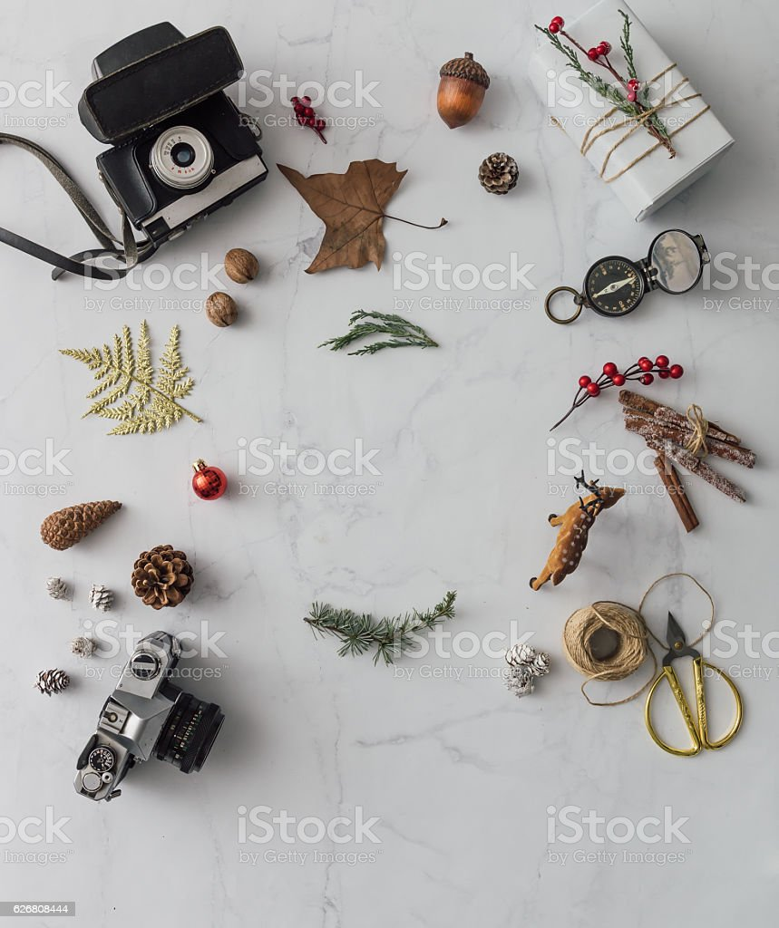 creative mock up layout made of hipster christmas decoration fl