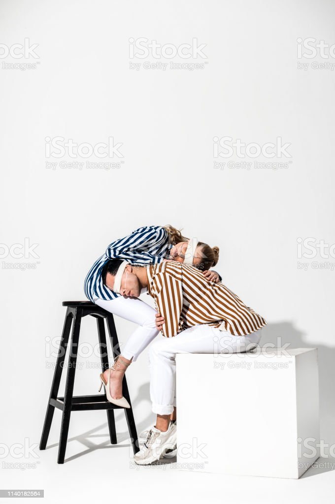 In striped shirts. Creative and talented young models wearing striped...