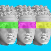 istock Creative modern collage with antique man head. Greek male sculpture. Print, zine art concept 1303135483