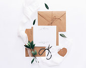 Creative modern wedding invitation, Flat lay card with envelope, rustic trendy style