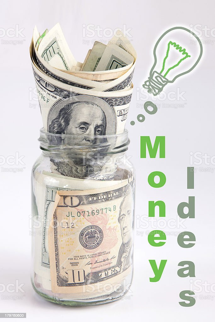 Creative money idea in the jar royalty-free stock photo