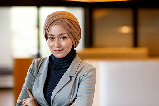 Creative Muslim Woman Designer In Modern Office Stock Photo - Download Image Now