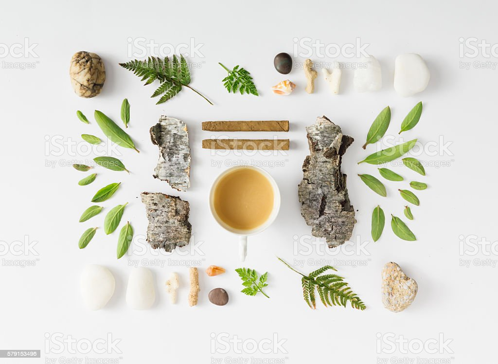 Creative natural layout made of leaves, stones, and tree bark. stock photo