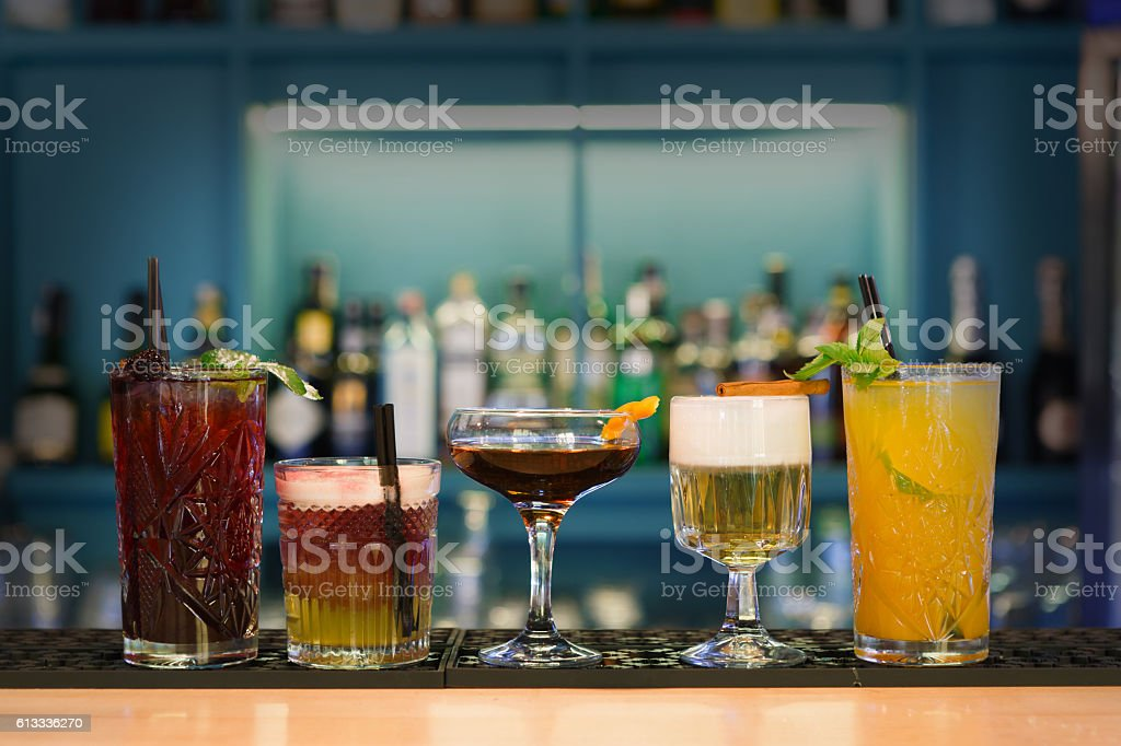 Creative non-alcoholic cocktails in night club bar stock photo