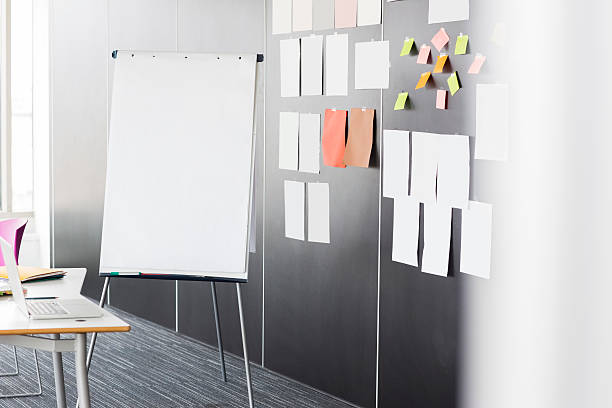 Creative Office Business Flip chart by sticky notepapers on wall in office flipchart stock pictures, royalty-free photos & images