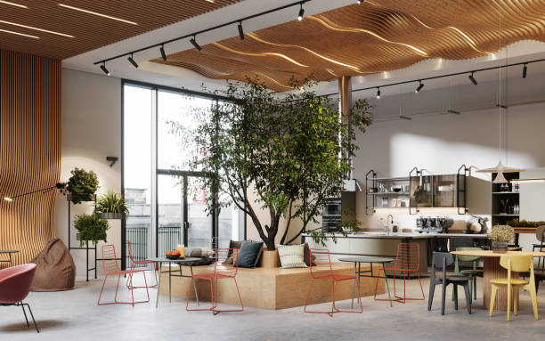 Creative office interior with cafeteria in 3d Creative office interior with cafeteria. 3D Rendering of modern and bright open plan office space. coworking stock pictures, royalty-free photos & images