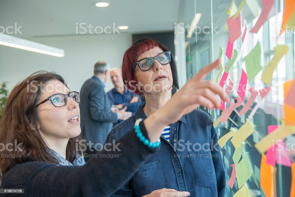 Creative office team brainstorming session stock photo