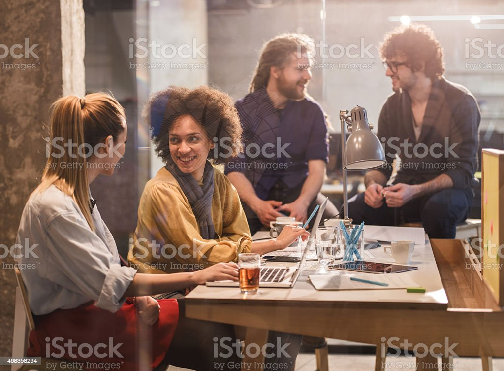 Creative people communicating in the office. royalty-free stock photo
