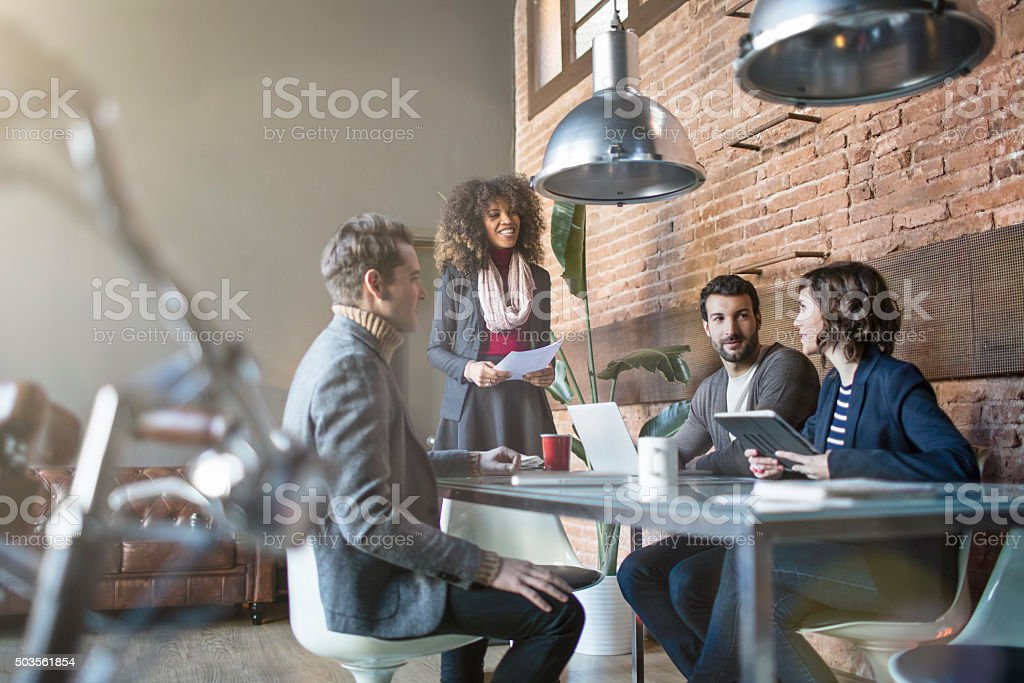 Creative people on a meeting stock photo