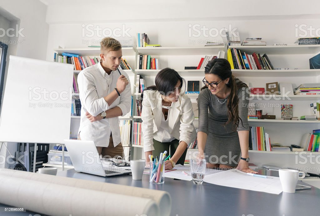 Creative people working in office stock photo