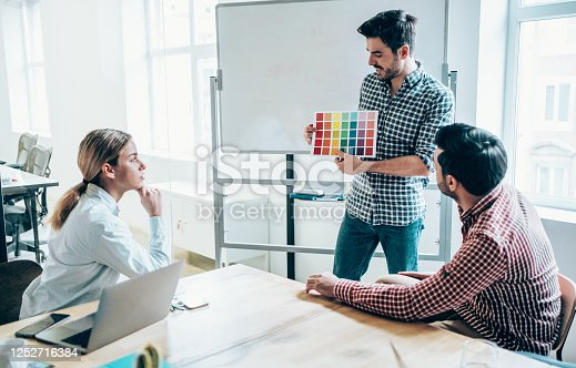 842214506 istock photo Creative person presenting his coworkers new ideas on a meeting. 1252716384