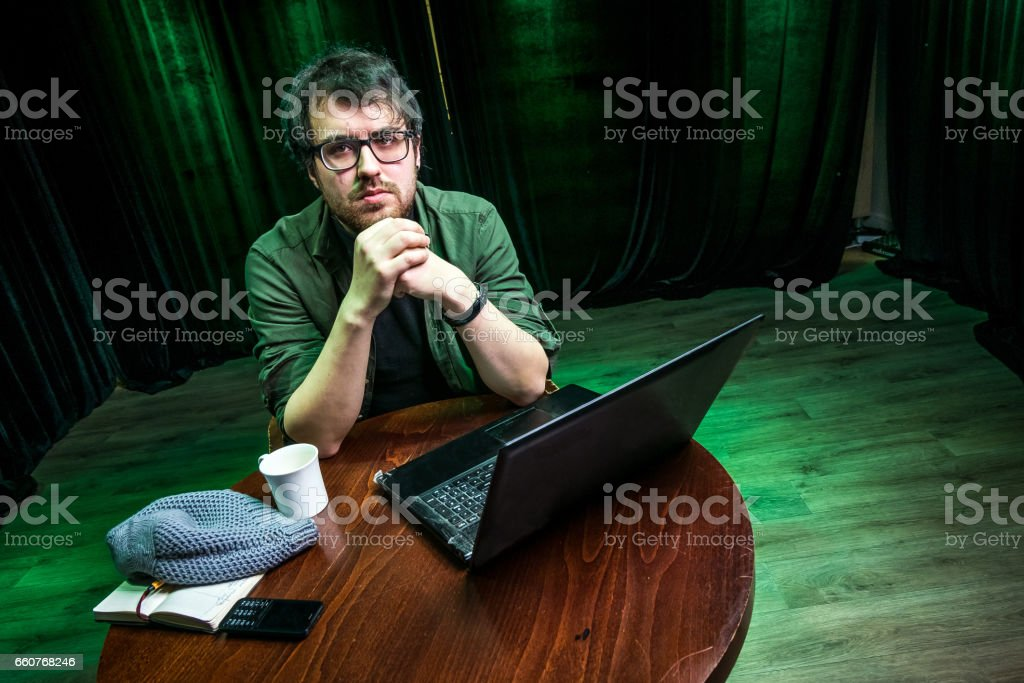 Creative person, writer, translator stock photo