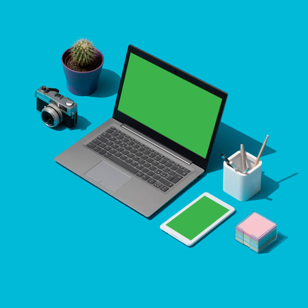 creative photographer and designer desktop - advertising isometric stock photos and pictures