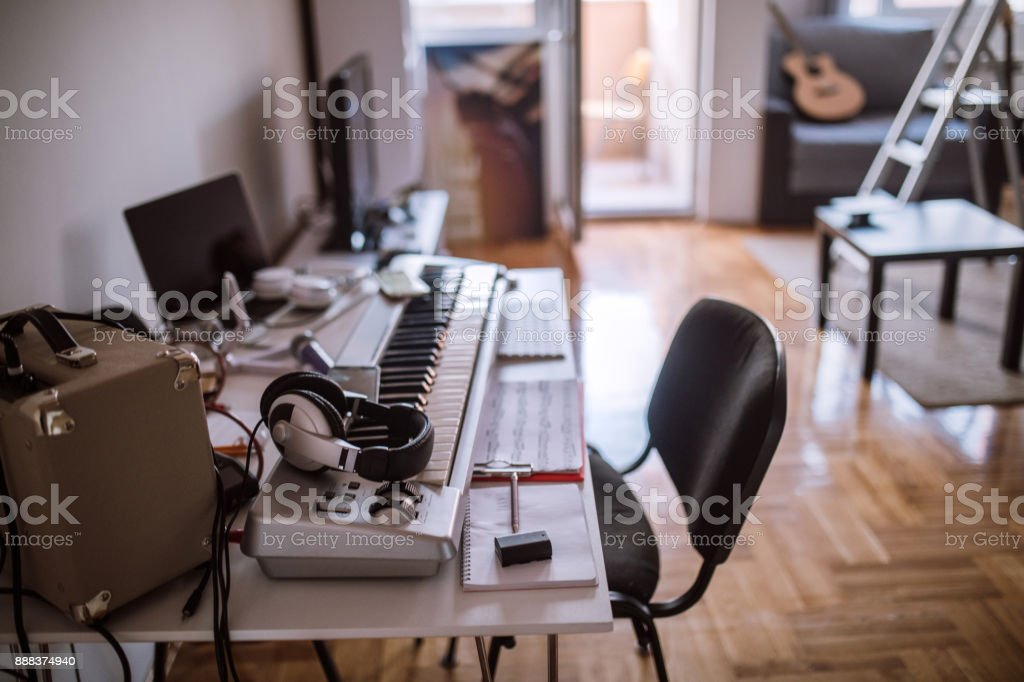 Creative Place Of Work Of Musician stock photo