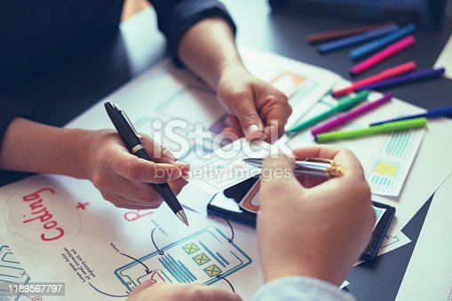 1133505958 istock photo Creative planning and working mobile application design team in the office. 1189567797