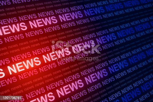 Creative red news header background. Information and breaking concept. 3D Rendering