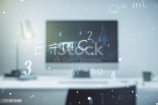 istock Creative scientific formula concept on modern laptop background. Multiexposure 1212875490