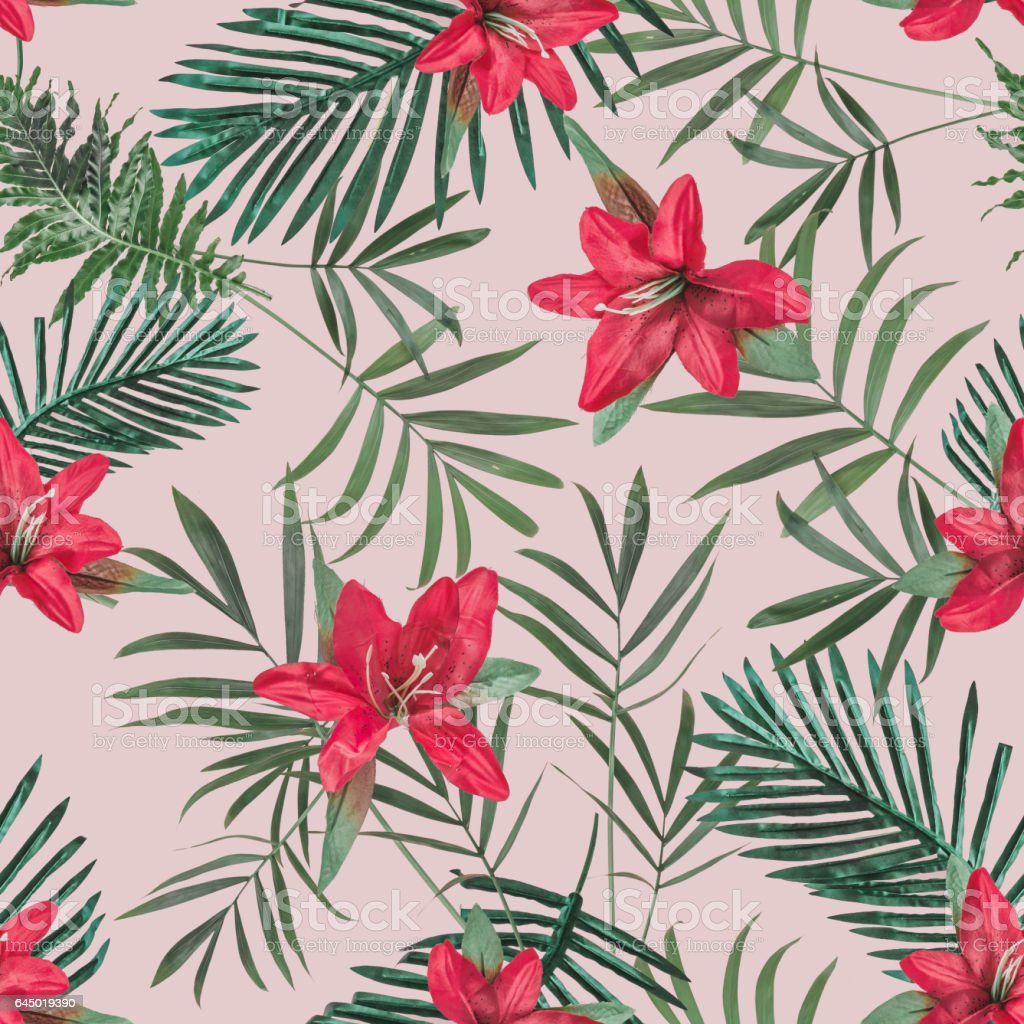 Creative Seamless Tropical Pattern With Flowers And Palm Leaves On Blush Pastel Background Nature Concept Stock Photo Download Image Now Istock Download premium png of hand drawn tropical leaves png transparent background by manotang about tropical, leaf, jungle, plant and greenery 594528. creative seamless tropical pattern with flowers and palm leaves on blush pastel background nature concept stock photo download image now istock