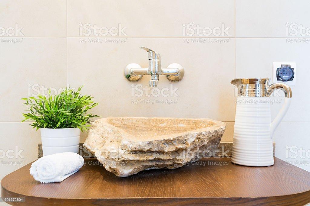 Creative shape bathroom sink stock photo