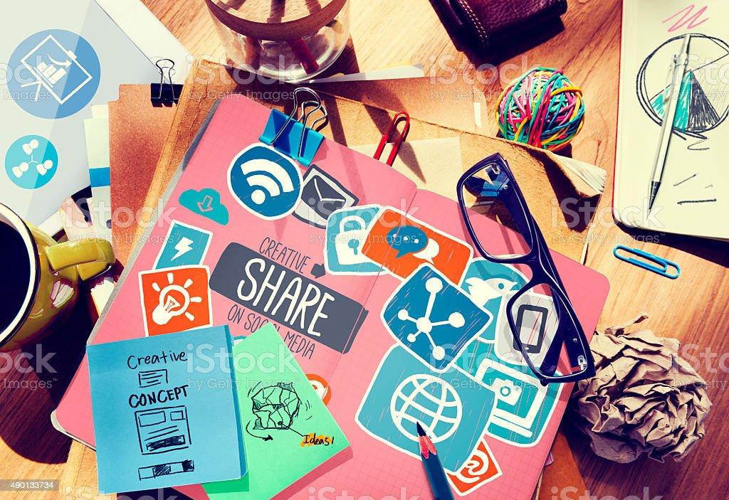 Creative Share Social Media Social Network Internet Online Conce stock photo