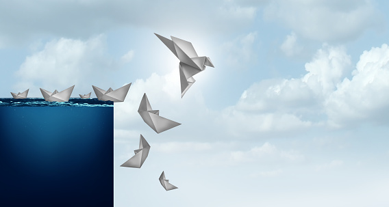 Creative solutions and business innovation solution concept of innovative idea as a paper boat transformed into a bird lifted away from risk in a 3D illustration style.