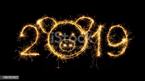 1070880528 istock photo Creative sparkling Number 2019 with head of pig 1082502922