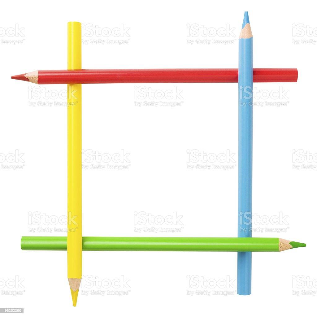 Montatura quadrata creativa matite di colore. Isolato. Percorso di residuo della potatura meccanica foto stock royalty-free