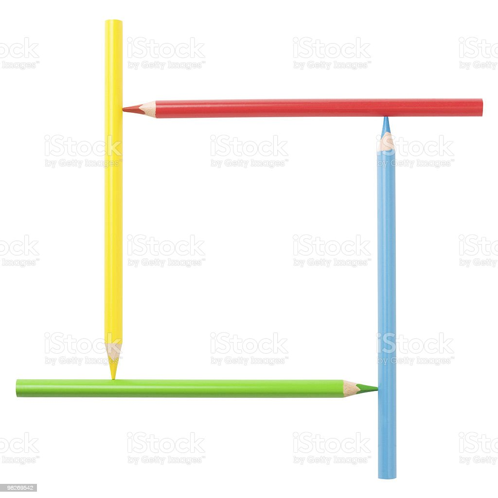 Creative square frame of colorful pencils. Isolated. Clipping path royalty-free stock photo
