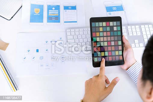 995213208 istock photo Creative startup UX UI designers team choosing color samples for designing mobile application screens layout. 1168735477