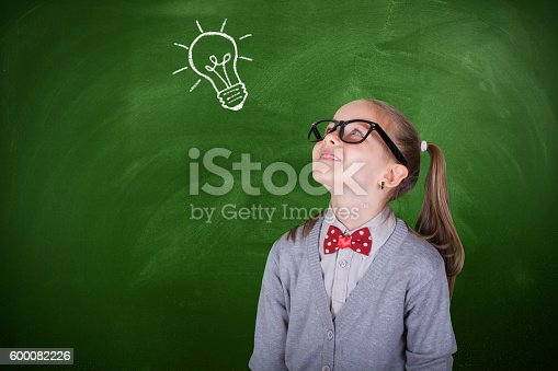 480585411 istock photo Creative student with lightbulb over head 600082226