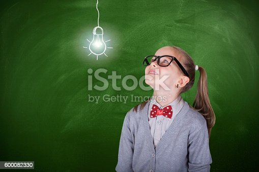480585411 istock photo Creative student with lightbulb over head 600082330