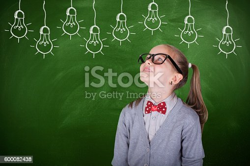 480585411 istock photo Creative student with lightbulb over head 600082438