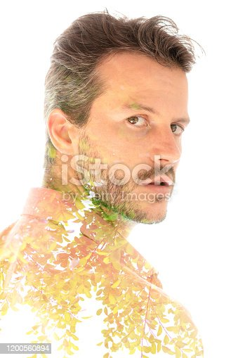 498089686 istock photo Creative surreal double exposure portrait 1200560894